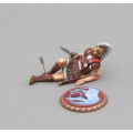 SPA030C Dying Hoplite with Mythical Hippocampi Seahorse Shield