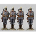 GW076D 4 German Artillery Parade Soldiers Looking Right
